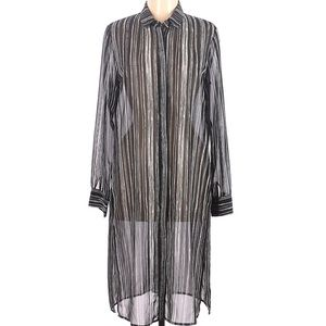 DKNY Sheer Striped Collared Shirt Dress